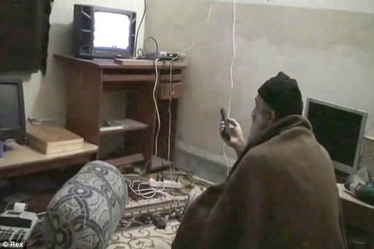 Osama bin Laden đang xem tin tức về chính mình ở căn cứ bí mật.