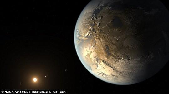 Kepler- 186f có kích cỡ gần bằng trái đất, đặc biệt chứa nước trên bề mặt. Ảnh phát họa của NASA