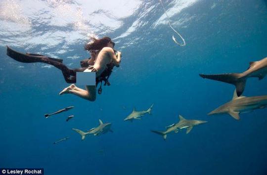 Mỹ nhân khỏa thân vui đùa với cá mập hổ