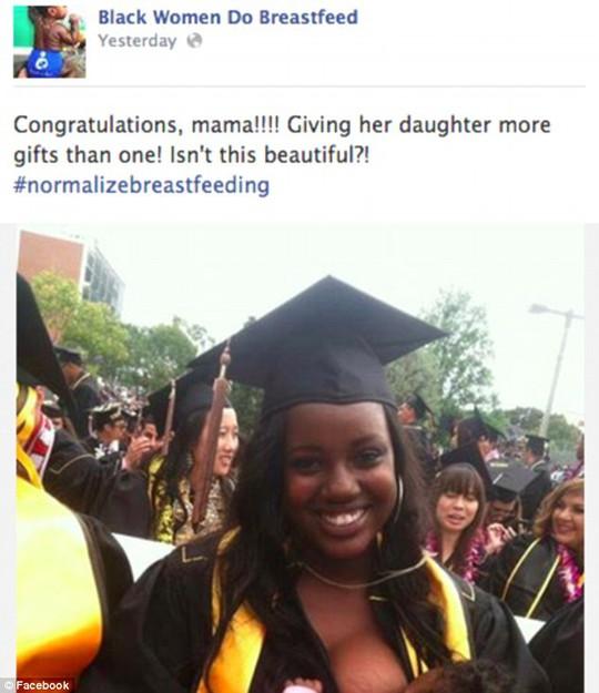 Bức ảnh cho con bú trong lễ tốt nghiệp gây tranh cãi