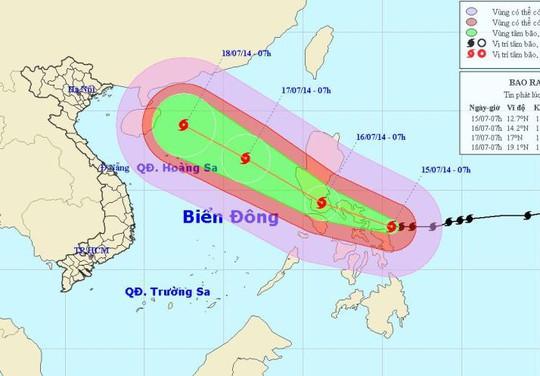 Vị trí bão Rammasun lúc 7 giờ sáng nay 15-7 và dự báo đường đi của bão. Nguồn: Trung tâm Dự báo Khí tượng thuỷ văn trung ương