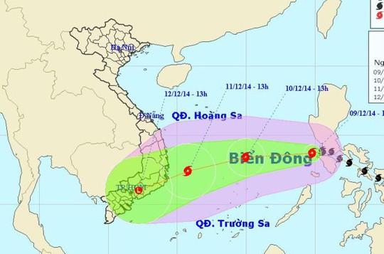 Vị trí và dự báo đường đi của bão số 5. Nguồn: Trung tâm dự báo khí tượng thuỷ văn Trung ương