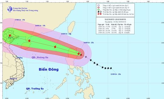 Vị trí và dự báo đường đi của cơn bão. Nguồn: Trung tâm Dự báo khí tượng Thủy văn Trung ương