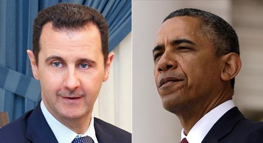 Tổng thống Mỹ Barack Obama (phải) đã gửi một thông điệp nhấn mạnh Tổng thống Bashar nên từ bỏ vị trí. Ảnh: Reuters