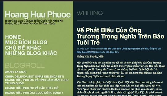 Bài viết về ông Trương Trọng Nghĩa trên blog của ông Hoàng Hữu Phước