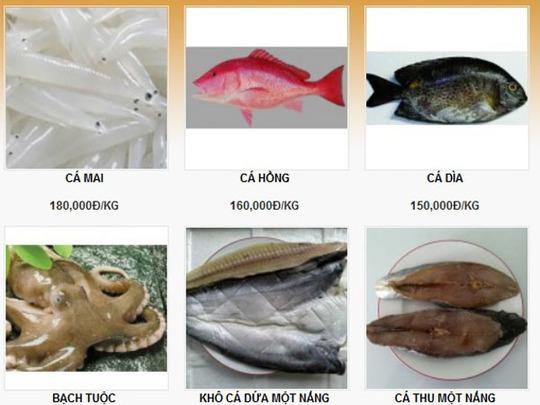Hải sản tươi sống được bán trên mang rất phong phú chủng loại và giá cả