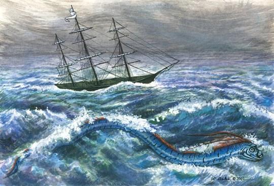 Tranh vẽ cá mái chèo theo lời kể của các thủy thủ ngày xưa là thủy quái biển.