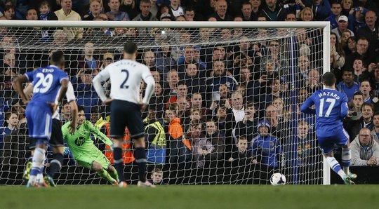Hazard trong trậnChelsea thắng Tottenham mùa trước trên sân nhà