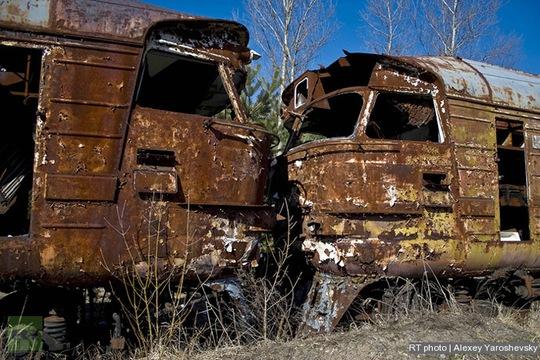 Khung cảnh hoang tàn ở Pripyat sau thảm họa hạt nhân. Ảnh: RT