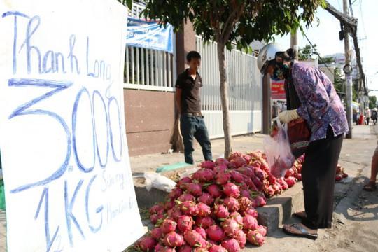 Thanh long được bày bán la liệt trên vỉa hè đường Phan Đăng Lưu, TP HCM - Ảnh: Tiến Long