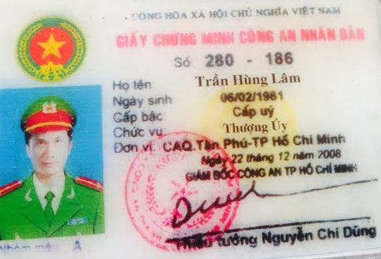 Thẻ ngành công an giả mạo của đối tượng Trần Hùng Lâm
