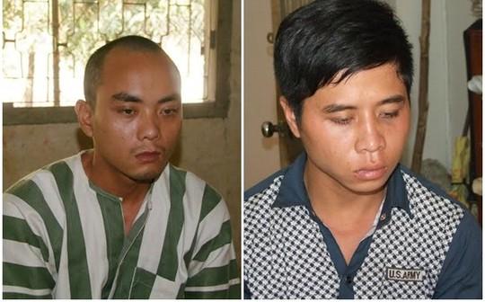Hai đối tượng Đinh Quốc Thanh, Nguyễn Đình Văn tại cơ quan công an.