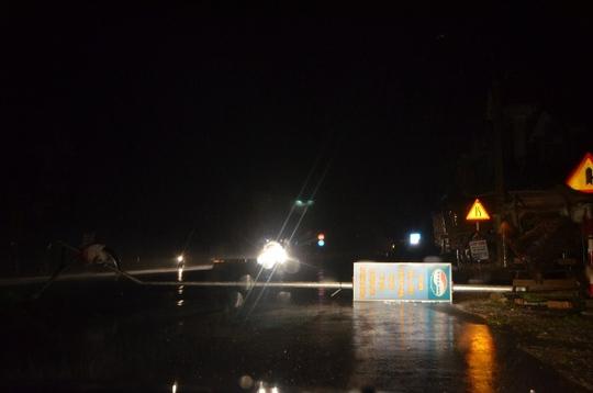 Gió bão quật đổ một cột đèn điện ở TP Hạ Long (Quảng Ninh)