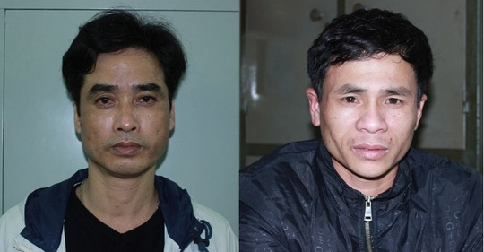 """Từ trái sang: Đối tượng tiêu thụ """"hàng nóng"""" Nguyễn Văn Nghiêm và môi giới Trịnh Văn Phong"""