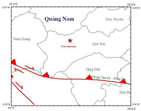 Trận động đất vào chiều 4-7 có vị trí chấn tâm tại huyện Quế Sơn. Ảnh: Viện Vật lý địa cầu