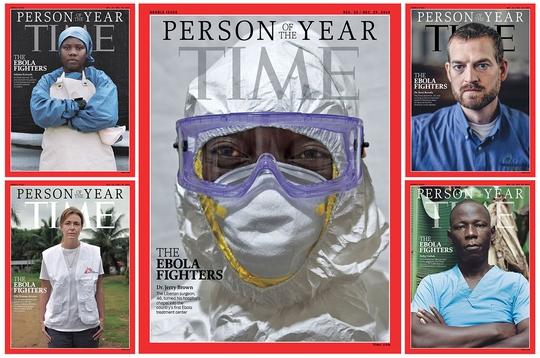 Đại dịch Ebola bùng phát là điểm nóng của năm 2014. Tạp chí Time đã chọn các y bác sĩ chống dịch là Nhân vật của năm. Ảnh: TIME