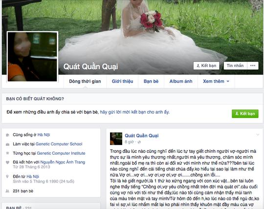 Facebook được cho là của nghi phạm sát hại vợ