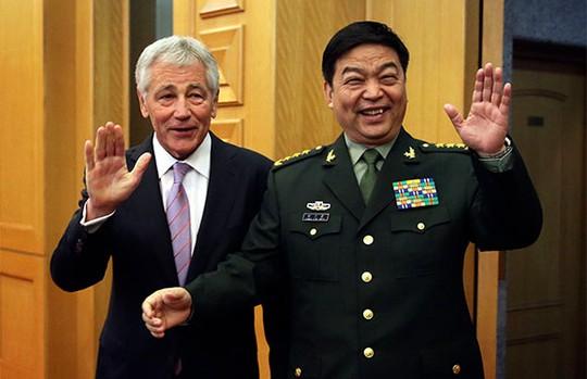 Ông ChuckHagel có cuộc hội đàm kéo dài gần 2 giờ với người đồng cấp Trung Quốctrong chuyến thăm Trung Quốc đầu tiên với tư cách là Bộ trưởng Quốc phòng Mỹ. Ảnh: Reuters