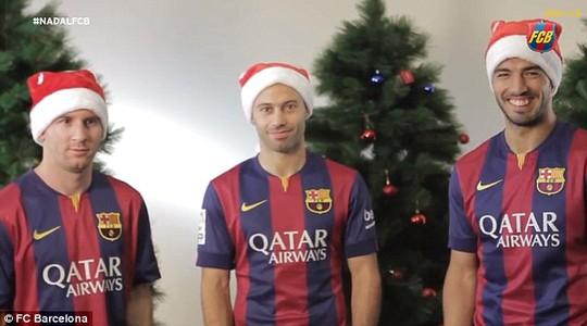 Mess, Mascherano và Suarez quay clip chúc mừng Giáng sinh các fan Barcelona