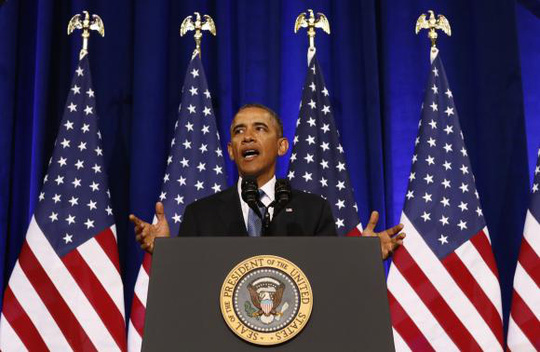 U.S. President Barack Obama speaks about the National Security Agency from the Justice Department in Washington January 17, 2014. REUTERS-Kevin Lamarque
