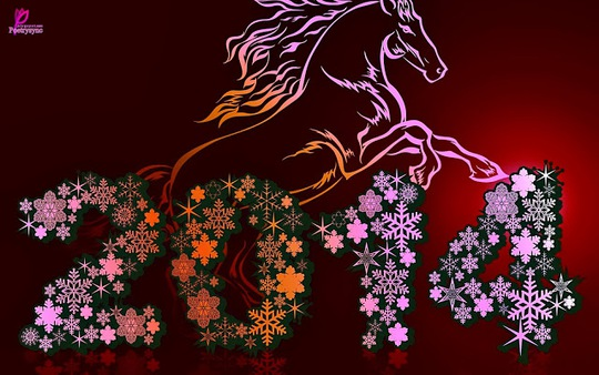 Happy New Year 2014 Wishes Image Horse 3D HD Wallpapers