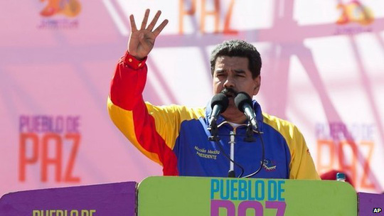Nicolas Maduro during rally in Caracas