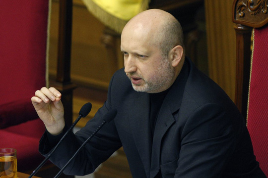 Newly elected Speaker of Parliament Oleksandr Turchynov speaks during a session of the Ukrainian Parliament in Kiev, on Feb. 23, 2014.
