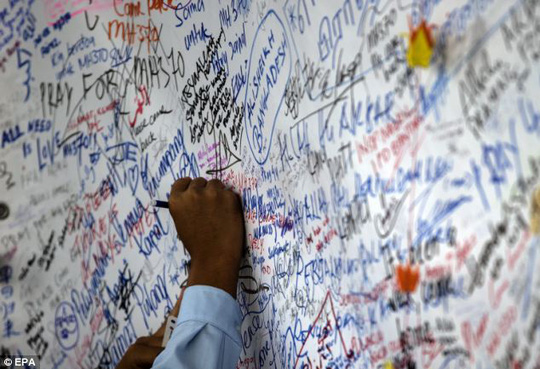 The prayer wall was started soon after the craft disappeared on March 8. No sign of the plane has been found