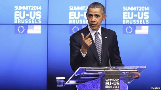 U.S. President Barack Obama speaks at a news conference during a EU-U.S. summit at the European Council in Brussels March 26, 2014.