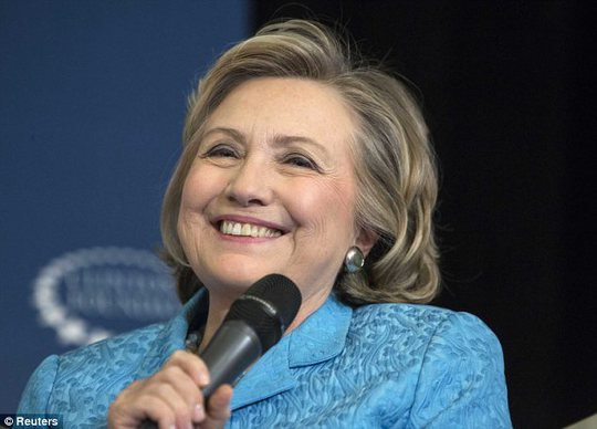 At last! Hillary has made no secret of her desire to be a grandmother, and her delighted face today showed just how excited she is that her daughter is finally expecting