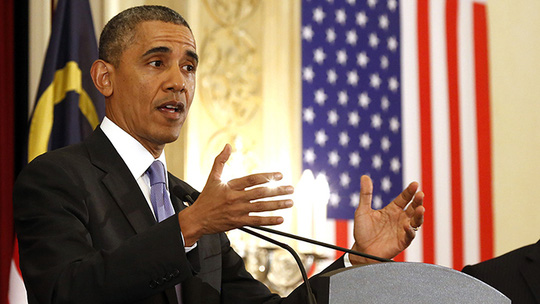 U.S. President Barack Obama speaks during joint news conference at the Perdana Putra Building in Putrajaya, April 27, 2014. (Reuters / Larry Downing)