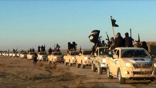 A convoy of vehicles and fighters from the Islamic State in Iraqs Anbar Province, January 2014 (illustrative photo: AP)