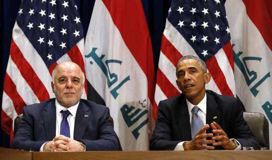U.S. President Barack Obama meets with Iraqi Prime Minister Haider al-Abadi during the United Nations General Assembly in New York September 24, 2014. REUTERS/Kevin Lamarque