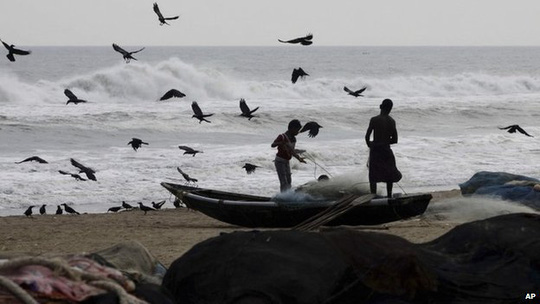 Fishermen sort their fishing nets after they return with their catch on the Bay of Bengal coast at Puri, Orissa state Oct 10, 2013