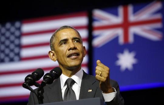 U.S. President Barack Obama speaks at the University of Queensland in Brisbane November 15, 2014. REUTERS/Kevin Lamarque