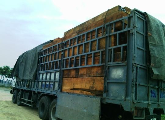 Một chiếc xe chở gỗ khủng bị CSGT bắt giữ trước đó vào khuya ngày 19-12