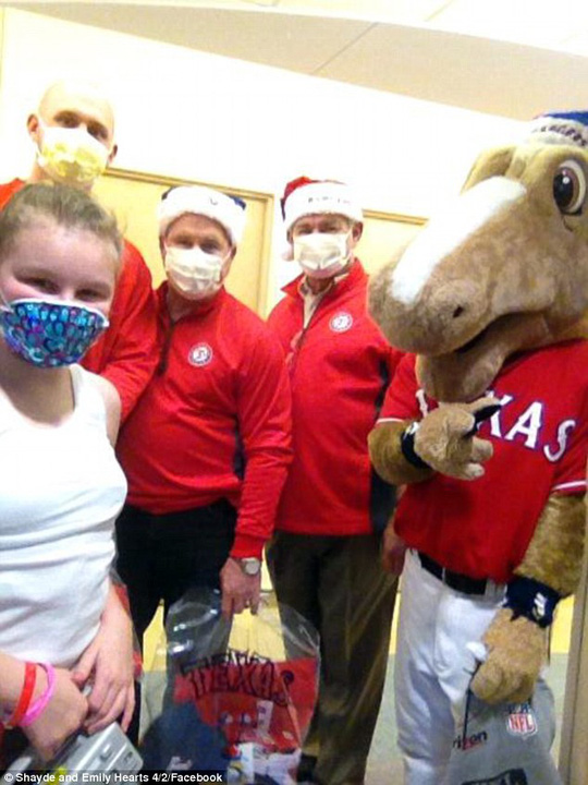Special: Emily also received a visit from the Texas Rangers, along with former President Bush