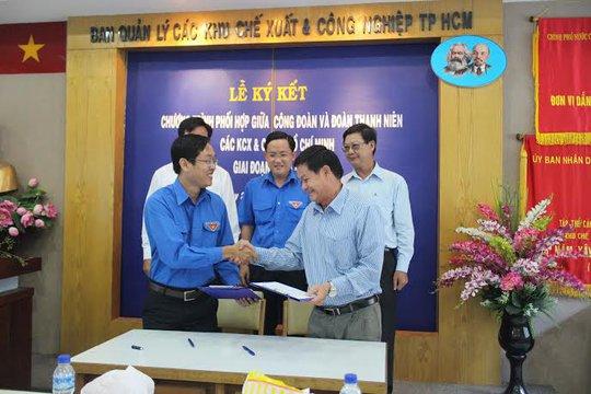 Đại diện Công đoàn và Đoàn Thanh niên các KCX-KCN TP HCM, ký kết liên tịch hoạt động giai đoạn 2014-2015