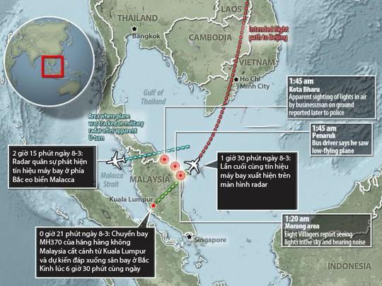 Hành trình bí ẩn của chuyến bay MH370. Ảnh: Daily Mail