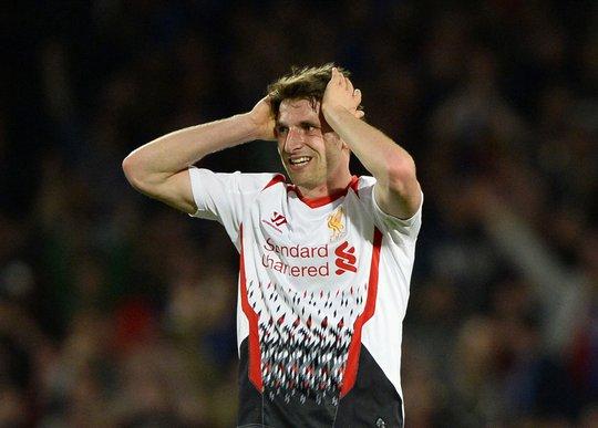 Joe Allen, người ghi bàn mở tỉ số cho Liverpool, không hiểu chuyện gì đã xảy ra