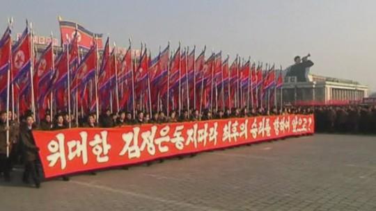 Tuần hành mừng sinh nhật Kim Jong-un. Ảnh: Youtube