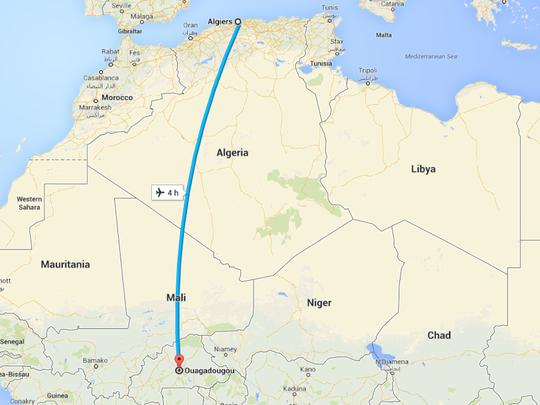 Chuyến bay mất liên lạc khi trên đường từ Ouagadougou đến Algiers