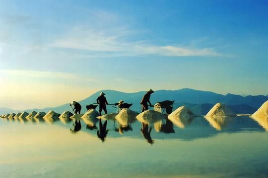 Những cánh đồng muối bạt ngàn là hình ảnh rất đặc trưng mang tính biểu tượng của Ninh Thuận. Ảnh: NinhThuantourist.