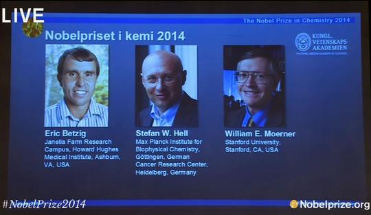 Từ trái qua phải: Eric Betzig, Stefan Hell, William Moerner - 3 nhà khoa học đoạt giải Nobel Hóa học 2014. Ảnh: Nobelprize.org