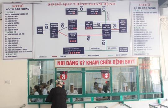 Quy trình khám chữa bệnh được công khai ngay tại khu vực đăng ký khám