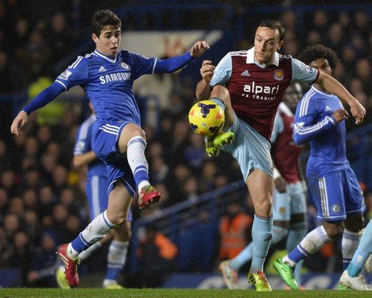 Oscar bất lực trước hàng phòng ngự dày đặc và đá kỷ luật của West Ham