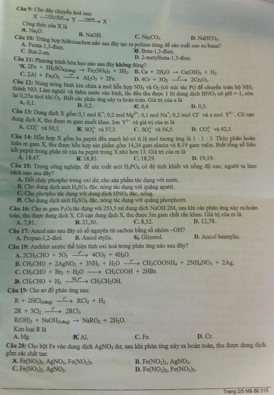 Gợi ý giải đề thi môn hóa khối B