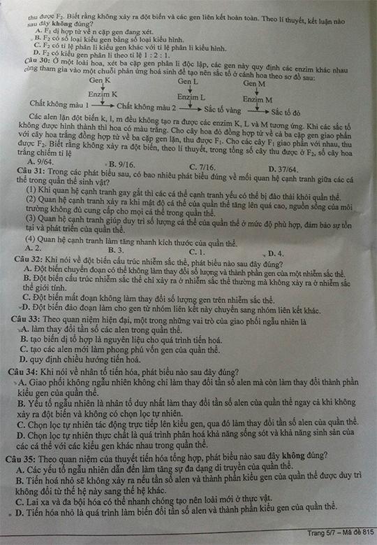 Đề thi, gợi ý giải đề môn sinh học