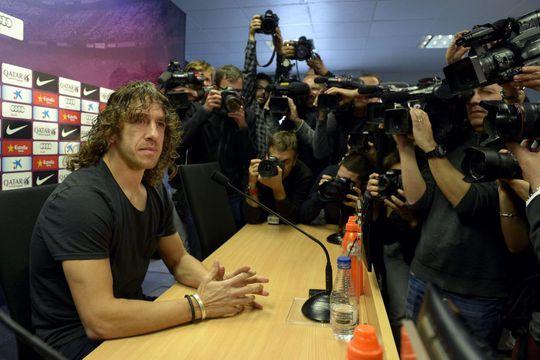 Puyol trong cuộc họp báo hôm 5-3