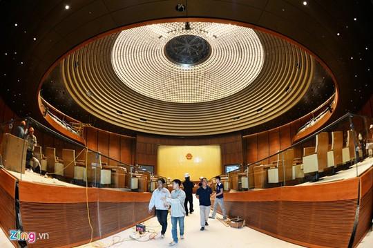 Bên trong Hội trường hình tròn với 600 chỗ ngồi, nơi diễn ra các kỳ họp Quốc hội.